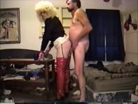 Never before seen kinky blonde transsexual whore Trinity stuffed with cock while in red latex