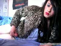 Flirty brunette transsexual Zara Kane playing with her swollen dick during webcam show