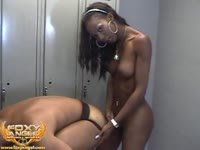 Fitness minded ebony shemale pounding a wanting white dude in this interracial tranny video