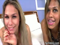 Joyous fucking video featuring a fresh-faced naughty transsexuals hammering each other