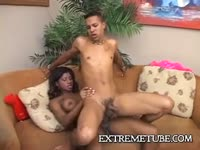 Well-endowed married dude slips away for a sex escape with hung ebony shemale whore