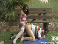 Dude in a rainbow shirt gets his ass stuffed with thick cock during first tranny sex adventure