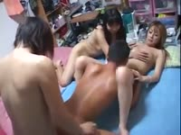Horde of sexy asian transsexual rookies take turns on dude in this xxx anal gangbang movie