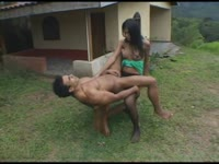 Thrilling outdoor sex scene features long legged brunette shemale fucking strong hunk good